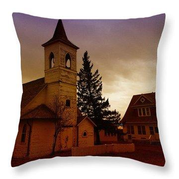 An Old Church In Williston North Dakota  Throw Pillow by Jeff Swan