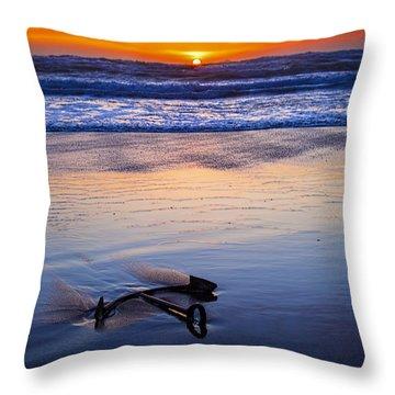 Anchor Ocean Beach Throw Pillow by Garry Gay