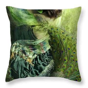 And Everything Emptying Into White Throw Pillow by Sonya Shannon