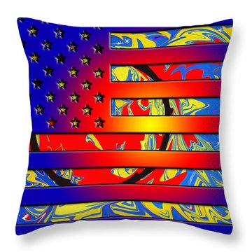 And The Flag Still Stands Throw Pillow by Robert Margetts