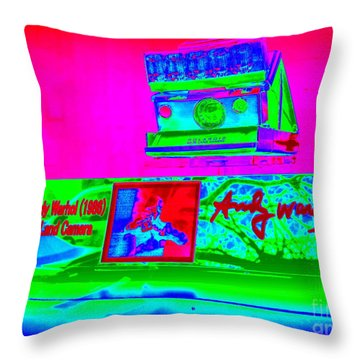 Andy Warhols Polaroid Throw Pillow by Ed Weidman
