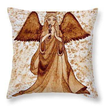Angel Of Hope Original Coffee Painting Throw Pillow by Georgeta Blanaru