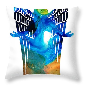 Angel Of Light - Spiritual Art Painting Throw Pillow by Sharon Cummings