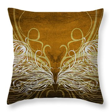 Angel Wings Gold Throw Pillow by Angelina Vick