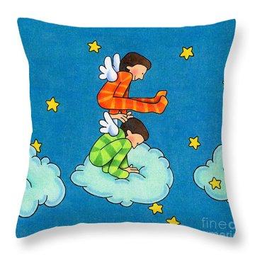 Angels Play Throw Pillow by Sarah Batalka