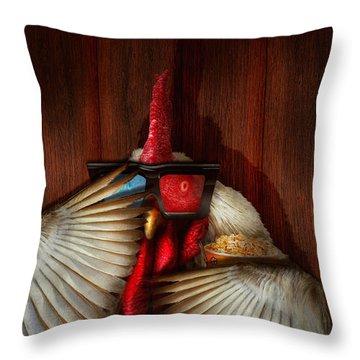 Animal - Chicken - Movie Night  Throw Pillow by Mike Savad