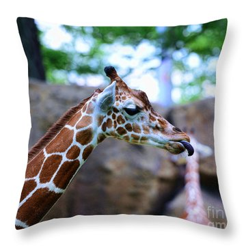 Animal - Giraffe - Sticking Out The Tounge Throw Pillow by Paul Ward
