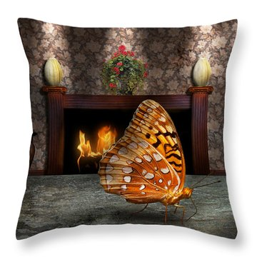 Animal - The Butterfly Throw Pillow by Mike Savad