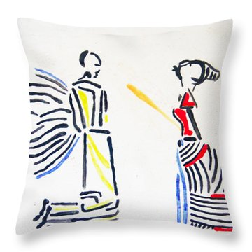 Annunciation Throw Pillow by Gloria Ssali