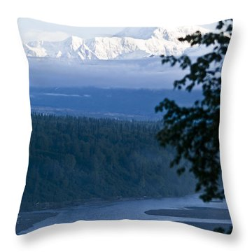 Another Denali View  Throw Pillow by Tara Lynn