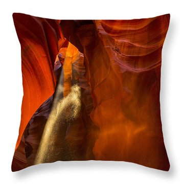 Antelope Canyon - Sand In The Light Throw Pillow by Angela A Stanton
