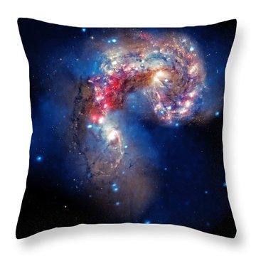 Antennae Galaxies Collide 2 Throw Pillow by Jennifer Rondinelli Reilly - Fine Art Photography