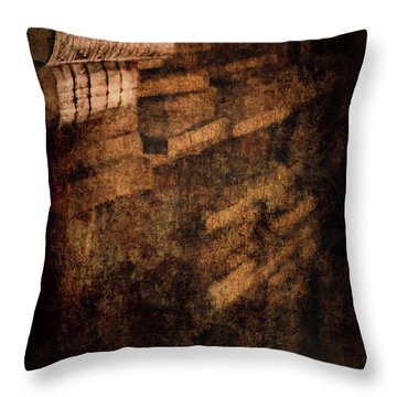 Antique Books On Dusty Book Shelves Throw Pillow by Loriental Photography