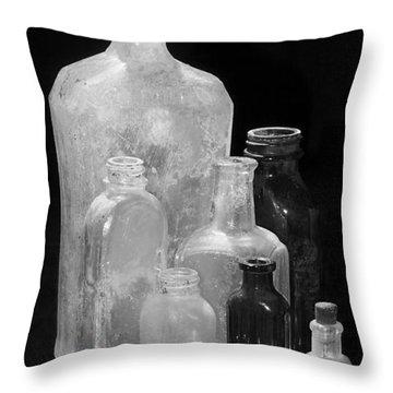 Antique Bottles 4 Black And White Throw Pillow by Phyllis Denton