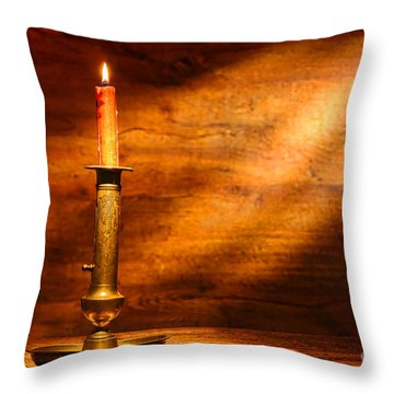 Antique Candlestick Throw Pillow by Olivier Le Queinec