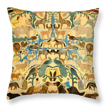 Antique Cutout Of Animals  Throw Pillow by American School
