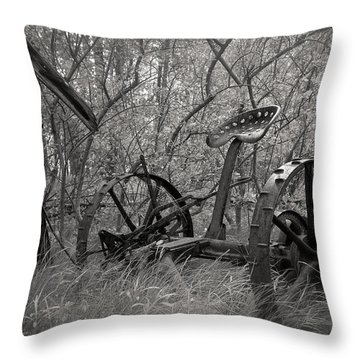 Antique Field Mower Throw Pillow by Mary Lee Dereske