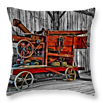 Antique Hay Baler Selective Color Throw Pillow by Steve Harrington