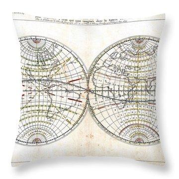 Antique World Map Harmonie Ou Correspondance Du Globe 1659 Throw Pillow by Karon Melillo DeVega
