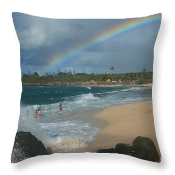 Anuenue - Aloha Mai E Hookipa Beach Maui Hawaii Throw Pillow by Sharon Mau
