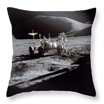 Apollo 15 Lunar Rover Throw Pillow by Commander David Scott