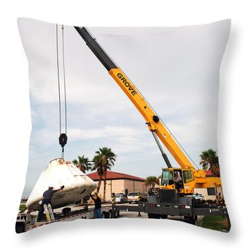 Throw Pillow featuring the photograph Apollo Capsule Going In For Repairs by Science Source