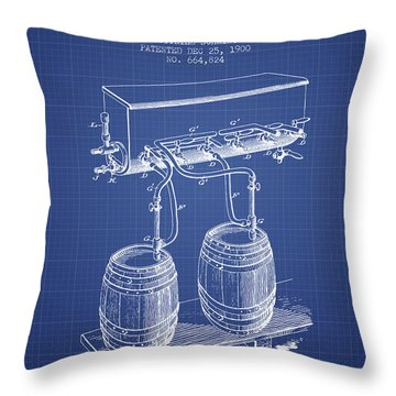 Apparatus For Beer Patent From 1900 - Blueprint Throw Pillow by Aged Pixel