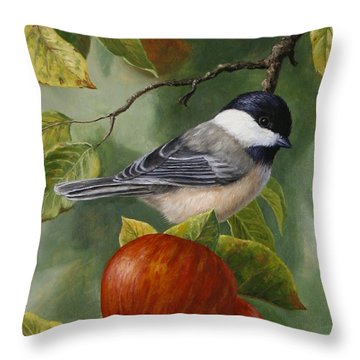 Apple Chickadee Greeting Card 2 Throw Pillow by Crista Forest