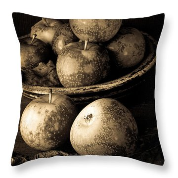 Apple Still Life Black And White Throw Pillow by Edward Fielding
