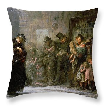 Applicants For Admission To A Casual Throw Pillow by Sir Samuel Luke Fildes