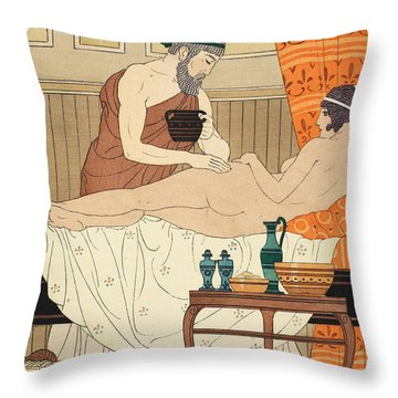 Application Of White Egyptian Perfume To The Hip Throw Pillow by Joseph Kuhn-Regnier