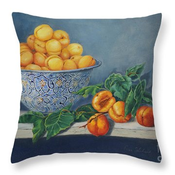 Apricots And Peaches Throw Pillow by Enzie Shahmiri