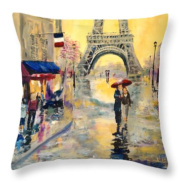 April In Paris Throw Pillow by Alan Lakin