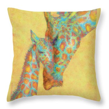 Aqua And Orange Giraffes Throw Pillow by Jane Schnetlage