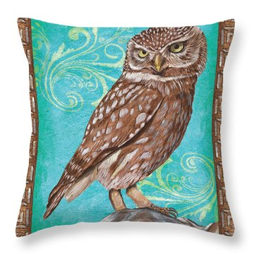 Aqua Barn Owl Throw Pillow by Debbie DeWitt