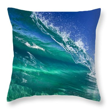 Aqua Blade Throw Pillow by Sean Davey