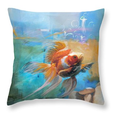 Aqua Gold Throw Pillow by Catf