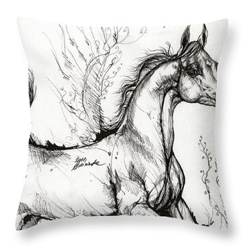 Arabian Horse Drawing 1 Throw Pillow by Angel  Tarantella