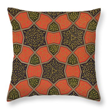 Arabic Decorative Design Throw Pillow by Emile Prisse dAvennes