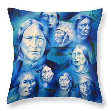 Arapaho Leaders Throw Pillow by Robert Martinez