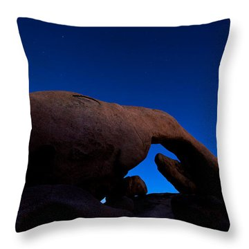 Arch Rock Starry Night Throw Pillow by Stephen Stookey
