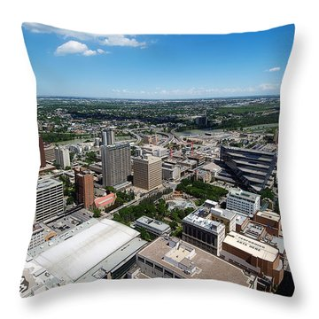 Arial View Of Calgary Facing North East Throw Pillow by Lisa Knechtel