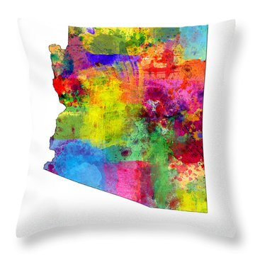 Arizona Map Throw Pillow by Michael Tompsett