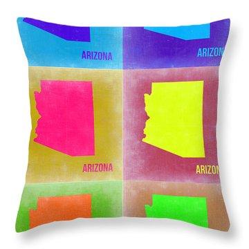 Arizona Pop Art Map 4 Throw Pillow by Naxart Studio