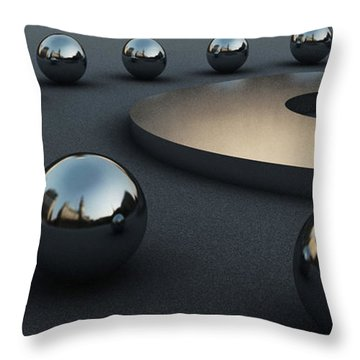 Around Circles Throw Pillow by Richard Rizzo