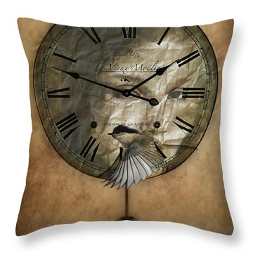 Around The Clock-time Is Flying Throw Pillow by Barbara Orenya