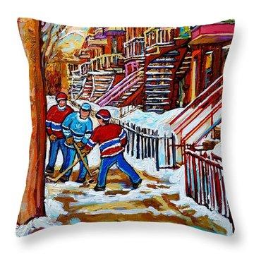 Art Of Verdun Staircases Montreal Street Hockey Game City Scenes By Carole Spandau Throw Pillow by Carole Spandau