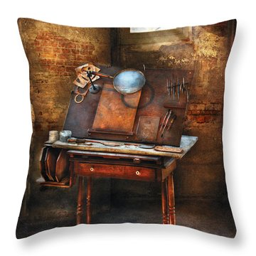 Artist - The Etching Table Throw Pillow by Mike Savad