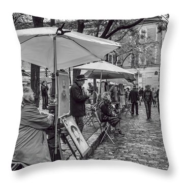 Artists In Montmartre Throw Pillow by Georgia Fowler