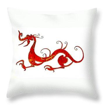 Asian Dragon Throw Pillow by Michael Vigliotti